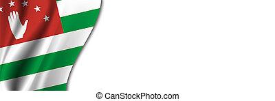 Abkhazia flag on white background. White background with place for text near the flag of Abkhazia