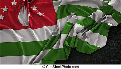 Abkhazia Flag Wrinkled On Dark Background 3D Render