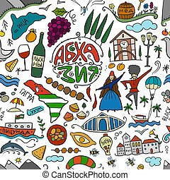 Abkhazia Travel (with name in Russian on illustration). Culture and People. Seamless Pattern for your design