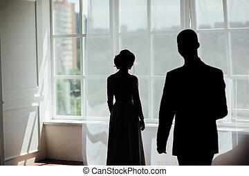 ablak, árnykép, leány