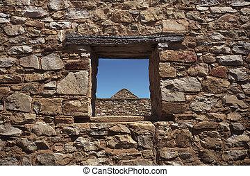 ablak, át, megkövez
