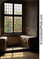 ablak, alatt, egy, bástya
