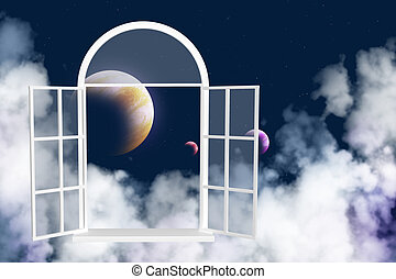 ablak, alatt, más, galaktika