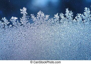 ablak, fagy, jég