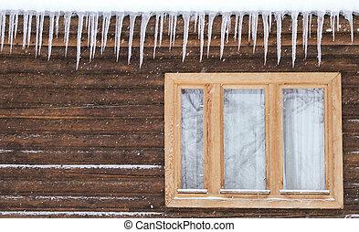 ablak, jégcsap