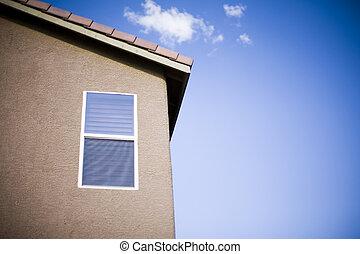 ablak, közül, egy, épület