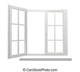 ablak keret, noha, egy, nyílik, és, egy, csukott, megcsap