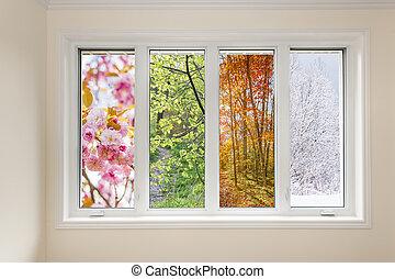 ablak kilátás, közül, 4 szezon