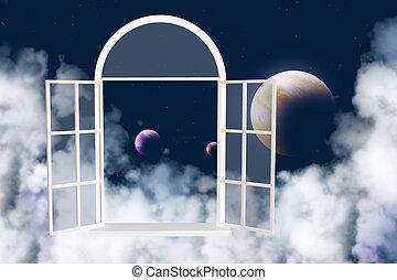 ablak, más, galaktika