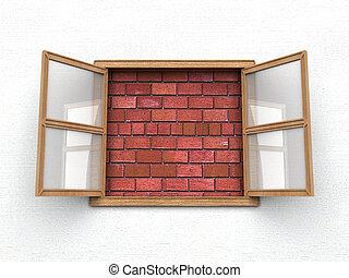 ablak, nem, kilátás