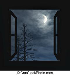 ablak, nyílik, fordíts, a, éjszaka