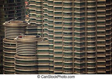 ablak, részletez, alatt, lejtő, közül, felhőkarcoló, alatt, kuala lumpur, malaysia