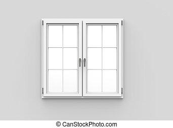 ablak, white háttér, csukott