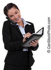 ablaufplanung, verabredung, sekretärin
