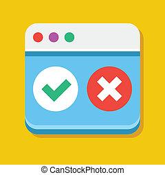 abnahme, browser, vektor, annehmen, ikone
