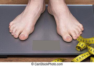abnehmen, begriff, mit, person, auf, a, skala, messen, kilogramm