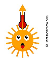 surprizing sun, thermometer and arrow up - Abnormal heat ...