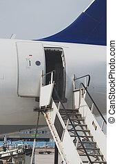 aboard., 打開, plane., 歡迎, 門