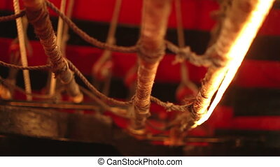 aboard an old wooden pirate ship out at sea