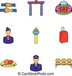 Aboard icons set, cartoon style