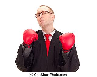 abogado, con, guantes de boxeo