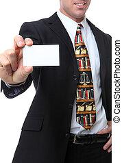 abogado, con, tarjeta comercial