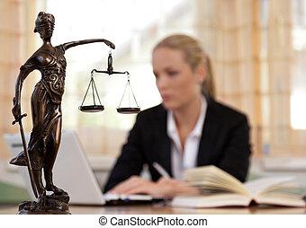 abogado, en, la oficina