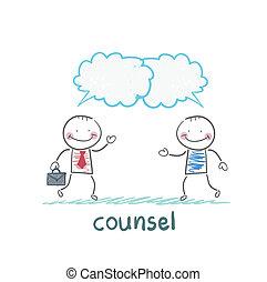 abogado, habla, cliente