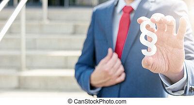 abogado, ofertas, párrafo, símbolo, -, ley, concepto, imagen