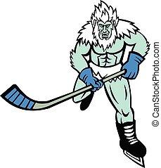 Abominable Snowman Ice Hockey Player Mascot