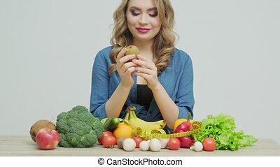 abondance, frais, closeup, table, légumes, manger, fruits, sain