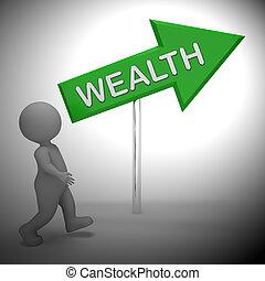 abondance, richesse, projection, signe, rendre, riche, 3d
