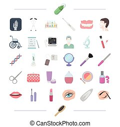 aboratory, cosmetology, makeup and other web icon in cartoon...