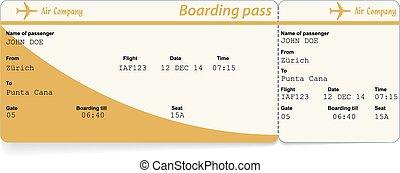abordaż, wizerunek, wektor, airline, farwater, bilet
