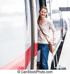 abordant train, femme, jeune, joli