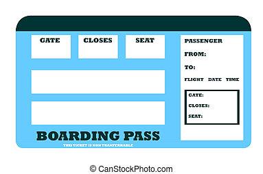 abordar avión, blanco, pase