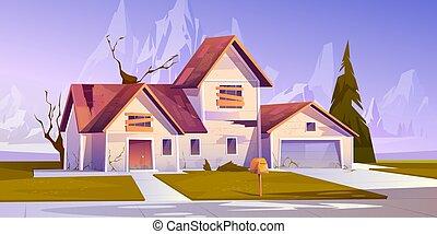 abordar, casa, adandoned, viejo, arriba, windows