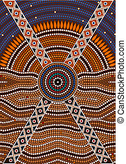 aborigène, illustration, basé