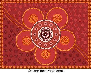 aborigen, estilo, de, punto, dolor, flor