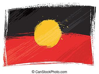 aborigen, grunge, bandera