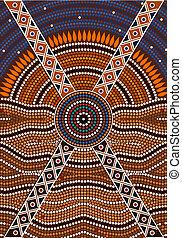 aborigeno, illustrazione, basato