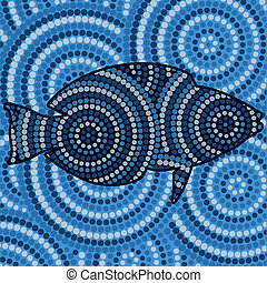 Aboriginal Art - Aboriginal fish dot painting in vector...