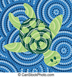 Aboriginal Art - Aboriginal turtle dot painting in vector...