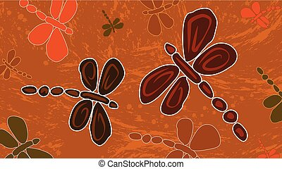Aboriginal art background with dragonfly, Landscape Illustration based on aboriginal style of dot painting.