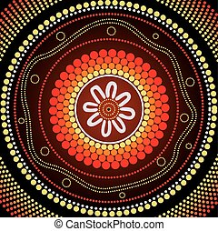 Aboriginal art vector painting. - Illustration based on...