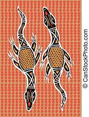 Aboriginal arts. - Aboriginal arts, lizards.