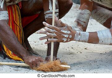 Aboriginal culture show in Queensland Australia - Hands of...