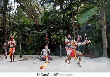 Aboriginal culture show in Queensland Australia - Group of...