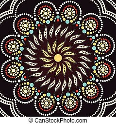 Aboriginal dot art background. Illustration based on aboriginal style of dot painting - Vector illustration