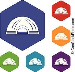 Aboriginal dwelling icons vector hexahedron - Aboriginal ...